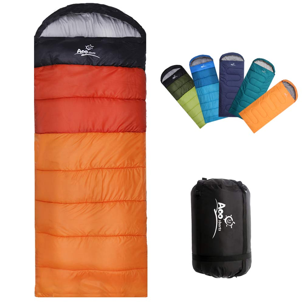 Camping Sleeping Bag, Waterproof Envelope Lightweight Portable Sleeping Bags Great For 4 Season Traveling, Camping, Hiking, Backpacking and Outdoor Activities For Adults, Kids, Girls and Boys by Aoosborts
