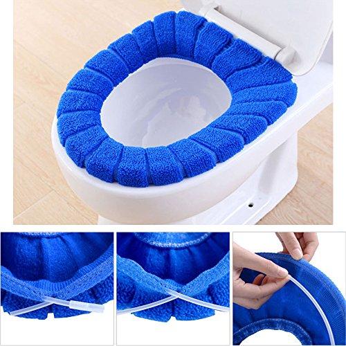 Pinleg Toilet Seat Cover Modern Comfortable Velvet Coral Standard Pumpkin Pattern Cushion Soft Washable Toilet Seat Cover Pads Toilet (Blue) by Pinleg (Image #2)
