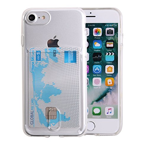 iPhone 7 Case, Case Art Plus Slim & Strong Clear Plating TPU Gel Shockproof Case Cover for iPhone 7 with Card Holder (Transparent)