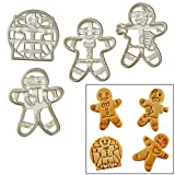 SET of 4 Gingerbread Man cookie cutters (Happy, Zombie, VooDoo, Vitruvian Man), 4 pcs, Ideal for seasonal holidays
