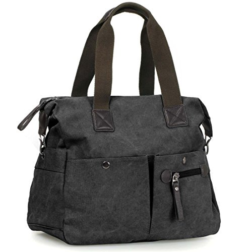 BMC Womens Charcoal Black Textured Canvas Multi Pocket Shoulder Tote Fashion - Zipper Tote Double