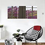 Liguo88 Custom canvas House Decor Collection View Through The Window To The Countryside Purple Flowers Spring Blooms Branches Bedroom Living Room Wall Hanging