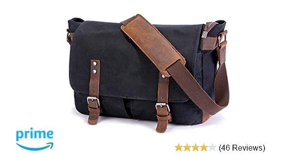 fe9c0e687 SUVOM Mens Messenger Bag,Genuine Leather Canvas Messenger Bag,Waterproof  Laptop Messenger Bag For 14 inch Laptop,Vintage Satchel Briefcase Cross  Body ...