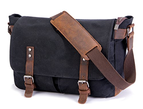 Urban Gear Messenger Bags - SUVOM Mens Messenger Bag,Genuine Leather Canvas Messenger Bag,Waterproof Laptop Messenger Bag For 14 inch Laptop,Vintage Satchel Briefcase Cross Body Shoulder Bag For Everyday Use,Travel,Camping