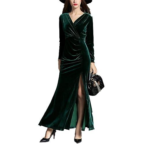 2017honghu ladiesautumn e inverno costume intero vestito a maniche lunghe longuette slim mostra la v...