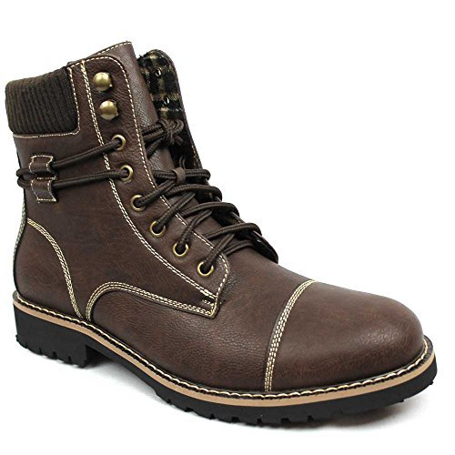 New Men's Polar Fox Cap Toe Modern Boot Lace up Wool Lining 808570 (9 U.S (D) M, BROWN)