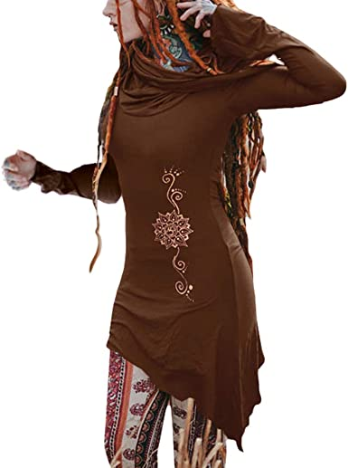 Hibote Medieval Camisa para Mujer Gótico Steampunk Camisa Top Impresión Dobladillo Irregular Camisetas con Capucha Retro Barroco Shirt Blusas: Amazon.es: Ropa y accesorios