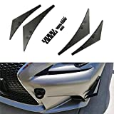 iJDMTOY 4pcs Black Front Bumper Canard, Body Diffuser Fins, Universal Fit For Any Car