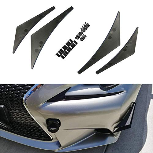 (iJDMTOY 4pcs Black Front Bumper Canard, Body Diffuser Fins, Universal Fit For Any Car)