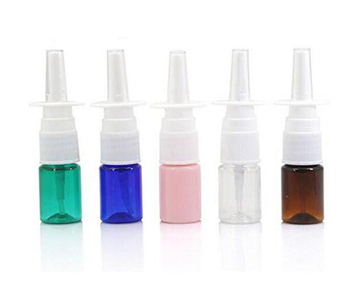 6 mini botellas de plá stico vací as de 5 ml rellenables para spray de nasal, contenedor de frascos de pulverizadores finos para aceites esenciales, perfumes de viaje y coloidales, aplicaciones de plata, salina y color al azar ericotry