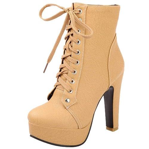 Lydee Mujer Clásico Martin Botas Tacon Ancho con Plataforma: Amazon.es: Zapatos y complementos
