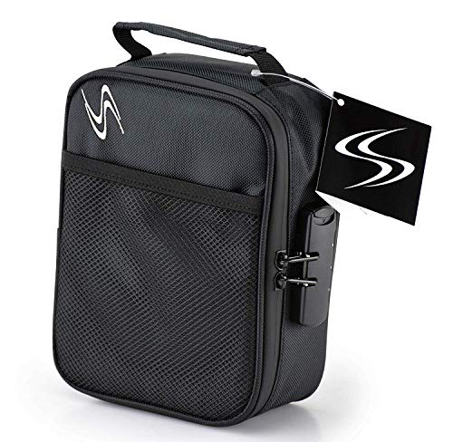 Smell Proof Bag - Smart Stash Case 8x6x3 - Large Combo Lock Container for Herbs, Weed Grinder, Pipe   Discreet Odorless Travel Storage Safe - Store Papers, Pax, Vape, Jar, Baggies - Odor Free (Black)