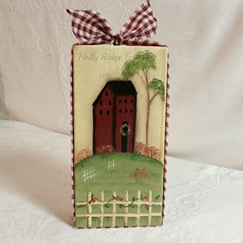 Saltbox House Folk Art (Wooden shelf sitter, saltbox house)