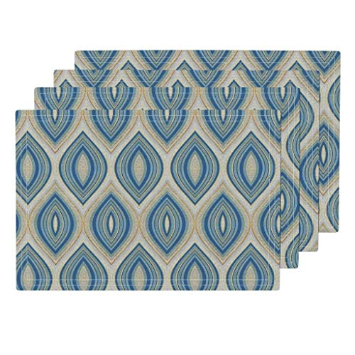 Palazzo Medallion (Promini Heat-Resistant Placemats, Medallion Palazzo in Blue Washable Polyester Table Mats Non Slip Washable Placemats for Kitchen Dining Room Set of 4)