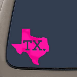 CMI DD989HP Texas with State Abbreviation Decal Sticker | 5.5-Inches by 5.25-Inches | Premium Quality Hot Pink Vinyl
