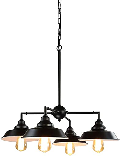 Longwind 4 Lights Industrial Chandelier Lighting Island Pendant Light Fixture with Oil Rubbed Bronze Finish Highlights