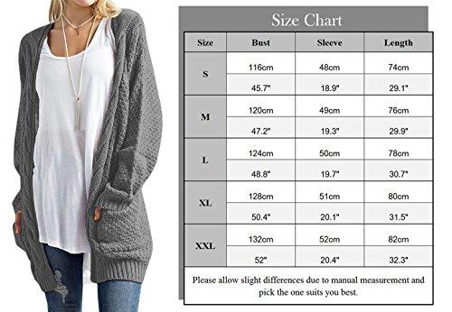 Manche Pull en Sweaters Femme sans Pull Casual Cardigan Poches avec Veste Longue HENCY Tricot Bouton RSw4qxU