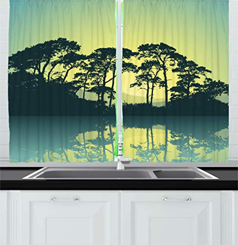 Ambesonne Forest Kitchen Curtains, Mystic Forest with Trees Abstract Mountain View and Lake River Nature Print, Window Drapes 2 Panel Set for Kitchen Cafe Decor, 55