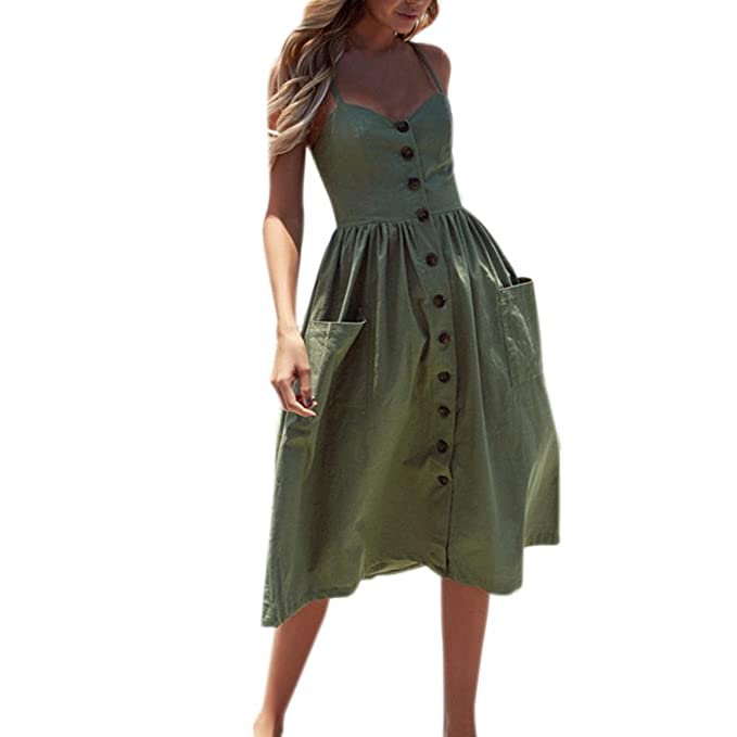 886e26b17a5b Tenworld Women's Solid Color Summer Spaghetti Strap Button Down Swing Midi  Dress (S, Army