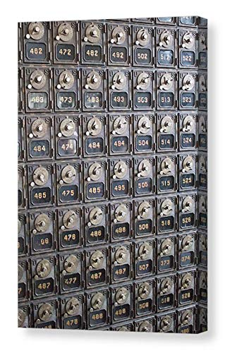 Historic Metal Post Office Boxes Geometric CANVAS Print Rustic Wall Art USPS Antique Mailboxes Steilacoom Washington Travel Photography Ready to Hang 8x10 8x12 11x14 12x18 16x20 16x24 20x30 24x36 (Wall Covers Washington)
