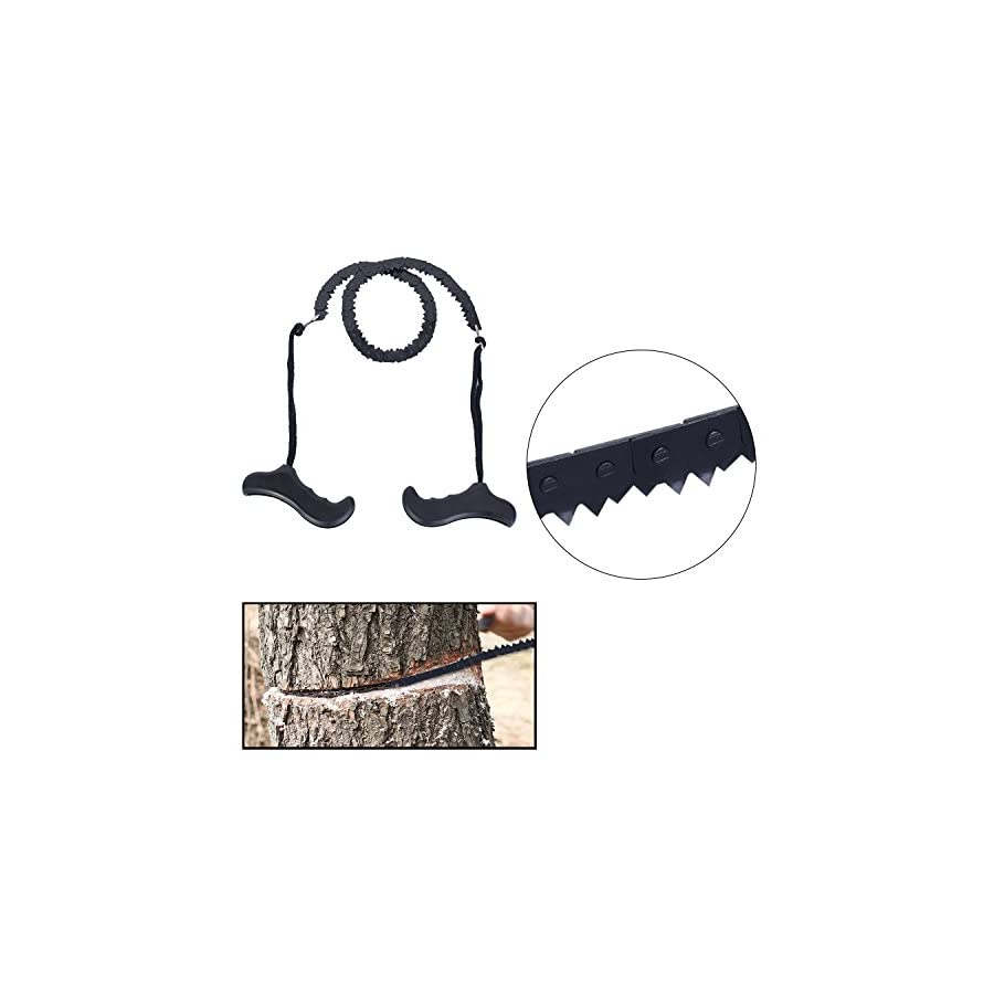 Pocket Chainsaw Survival Chain Saw Magnesium Fire Rod Fire Starter with Whistle 29 Inches Portable Garden Handle Hand Saw with Sharp Teeth Survival Tool Emergency Kit for Camping Hunting Tree Cutting