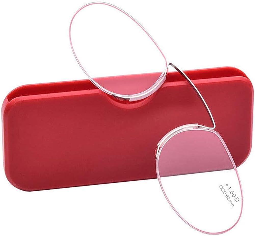 YUNCAT Naso che riposa Reading Glasses astine e senza montatura Occhiali da vista per uomo e donna Ultra leggero portafoglio lettore 5 diottrie 3 colori