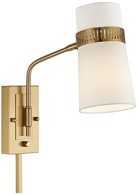 Cartwright warm antique brass plug in wall lamp