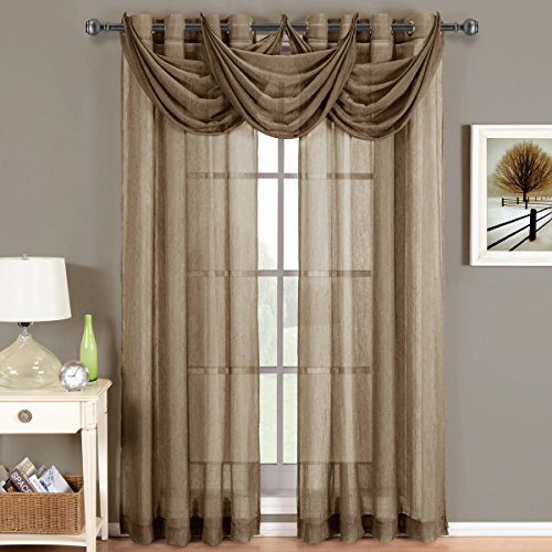 CRUSHED SHEER ABRI GROMMET Curtain Panels Window Treatment 50 X 84 Panel Mocha