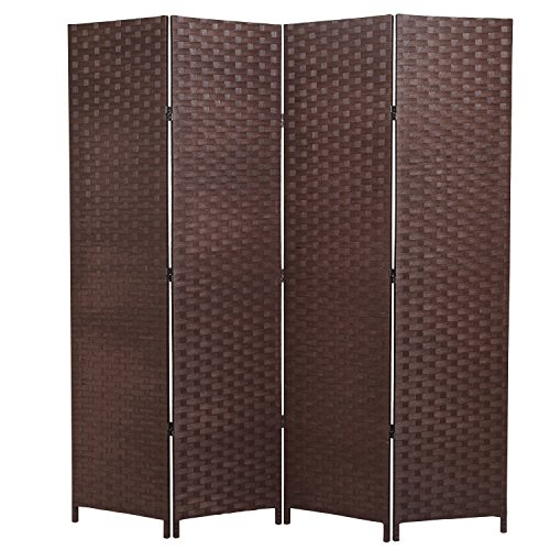 MyGift Wood 4-Panel Room Divider, Seagrass Woven Privacy Screen, (Outdoor Folding Screen)