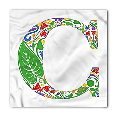 Letter C Bandana by Ambesonne, Abstract Colorful Wildflowers and Giant Green Leaves Vivid Art Design Capital C, Printed Unisex Bandana Head and Neck Tie Scarf Headband, 22 X 22 Inches, Multicolor