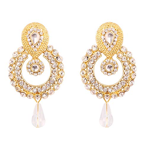 Touchstone Indian Bollywood Old polki Kundan Look Jewelry Pretty Design Earrings in Antique Gold ()