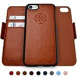 Dreem Fibonacci 2-in-1 Wallet-Case for iPhone 5 & SE, Magnetic Detachable Shock-Proof TPU Slim-Case, RFID Protection, 2-Way Stand, Luxury Vegan Leather, Gift-Box - Caramel