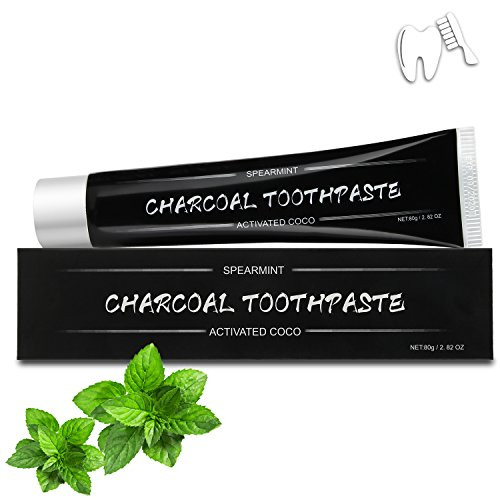 Charcoal Toothpaste Best Natural Activated Charcoal Teeth Whitening Toothpaste - Eliminates Bad Breath, Improve Oral Hygiene - Teeth Charcoal Whitener, Fluoride Free (Spearmint)