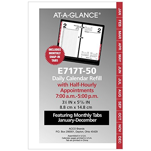 "AT-A-GLANCE Daily Desk Calendar Refill with Monthly Tabs, January 2018 - December 2018, 3-1/2"" x 6"", Loose Leaf (E717T50)"