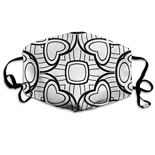 Black and White Seamless Pattern with Mosaic Motif Personalized Mask Activated Carbon Cotton Dustproof Unisex for Outdoor Travel