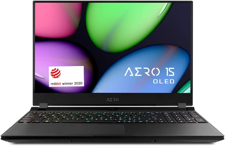 "[2020] Gigabyte AERO 15 OLED KB Thin+Light High Performance Laptop, 15.6"" 4K UHD OLED Display w/ 100% DCI-P3, GeForce RTX 2060, i7-10875H, 16GB DDR4, 512GB NVMe SSD, Up to 8.5-hrs Battery Life"