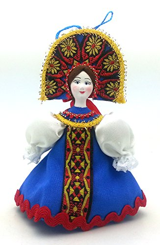 (Russian Doll with porcelain hand painted face CHRISTMAS ORNAMENT / Girl in a blue dress)