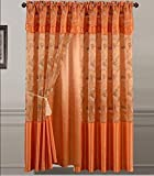 Golden Linens One Piece Embroidery Window Curtains/drape/panel/treatment with Attached Valance And Liner Backing Orange