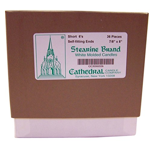 Cathedral Brand White Molded Stearine Candles with Plain Ends Box of 6 1 1//2 Inch x 9 Inch