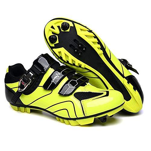 ZJH Fiets Schoenen Road Cycling Schoenen MTB Schoenen Heren MTB Schoenen Sapatilha Ciclismo (Kleur : Geel, Grootte : 43)