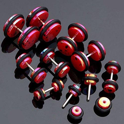 JS Direct - 10pcs Polka Dot Faux Plug Acrylique Ecarteur Expandeur Oreille Elargisseur Fake Tunnel ROUGE 4 5 6 8 10mm