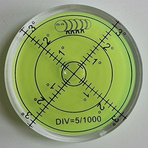 Acrylic Large Spirit Bubble Level (Green Liquid) 60mm Diameter, 2-23/64