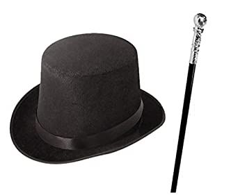 8cfabf45e Mega_Jumble Children's Kids Boys Factory Owner Top Hat & Cane Book Week  Fancy Dress (Black)