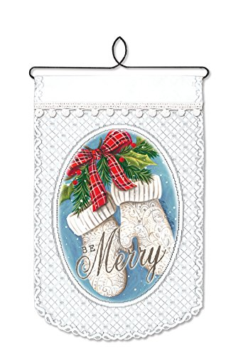 Heritage Lace Christmas Wall Decor Mittens-Be Merry Wall Hanging, 12 by 20-Inch, White