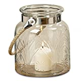 Whole House Worlds The Heritage Farm House Hurricane Candle Lantern, Rustic Clear Glass, Etched Wheat Grain And Star Pattern, Metal Clad with Natural Rope Handle, 7 1/2 D x 9 H Inches, By