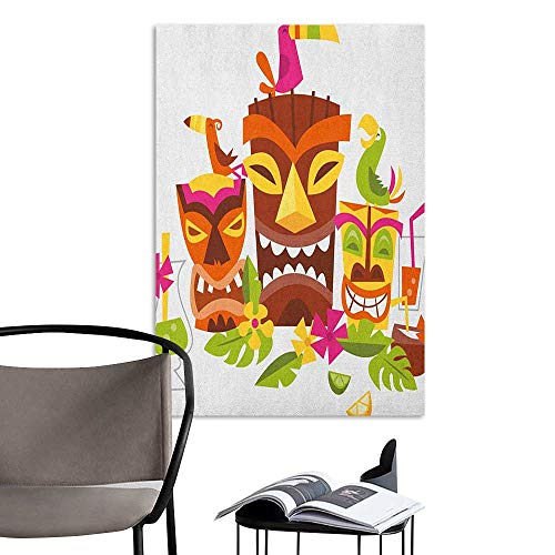 Self Adhesive Wallpaper for Home Bedroom Decor Luau Three Grimacing Tiki Party Masks Surrounded by Leaves Drinks and Cute Toucan Birds Multicolor Home Decor W8 x H10 for $<!--$9.90-->