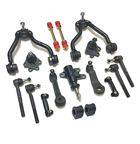 - PartsW 17 Pc Suspension Kit for Chevrolet GMC Adjusting Sleeves, Tie Rod Ends, Ball Joints, Idler & Pitman Arms, Idler Arm Bracket Assembly, Sway Bars, Stabilizer Bar Bushings, Control Arms