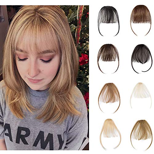 Clip In Air Bangs 100% Remy Human Hair Extensions One Piece front Neat Air Fringe Hand Tied Straight Flat Bangs Clip On Hairpiece With Temples For Women #6 Light Brown 3g (Best Clip In Bang Extensions)