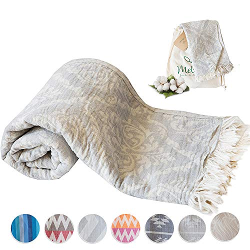(Mebien Turkish Beach Bath Towel-Renaissance Design Light Grey Luxury peshtemal for spa Pool Bathroom Sand Free%100 Cotton Blanket Towels Set, Gift for Women Sizes: 33x66 inches)