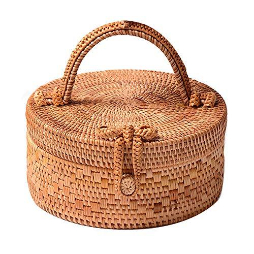 TEEPAO Rattan Bag for Women, Fashion Handmade Wicker Woven Purse Round Rattan Bag Bamboo Rattan Bag for Summer Beach Sea Vacation Best Gift for Girlfriend/Mother (Dia:22CM)